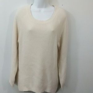 H & M Divided Cream Scooped Neck Sweater